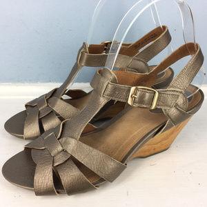 Clarks Artisan Wedge Heel Sandals 8 M Brown